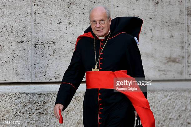 Archbishop of Vienna Cardinal Christoph Schonborn arrives at the Synod Hall for the third day Synod on the themes of family on October 8, 2014 in...