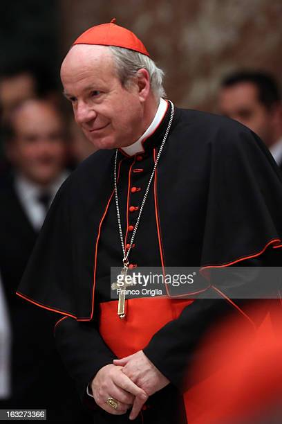 Archbishop of Vienna Cardinal Christoph Schonborn attends a meeting of prayer at St. Peter's Basilica on March 6, 2013 in Vatican City, Vatican. The...