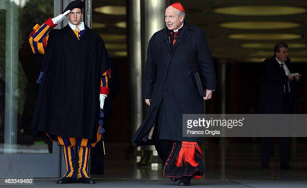 Archbishop of Vienna cardinal Christoph Schonborn leaves the Synod Hall at the end of the Extraordinary Consistory for the creation of new cardinals...
