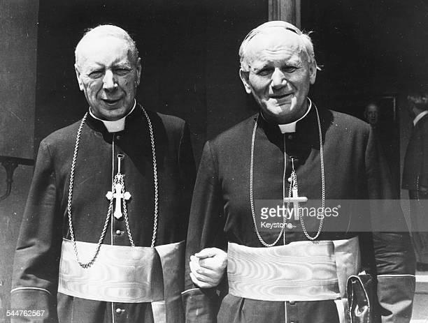 Archbishop of Warsaw Cardianl Wyszynski , with Cardinal Wojtyla, soon to become Pope John Paul II, 1978. Printed following the death of Wyszynski on...