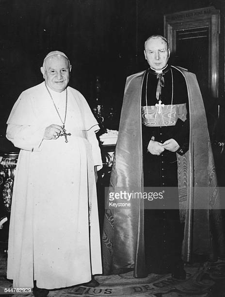 Archbishop of Warsaw Cardianl Wyszynski , with Pope John XXIII at a private audience in Rome, February 17th 1962.