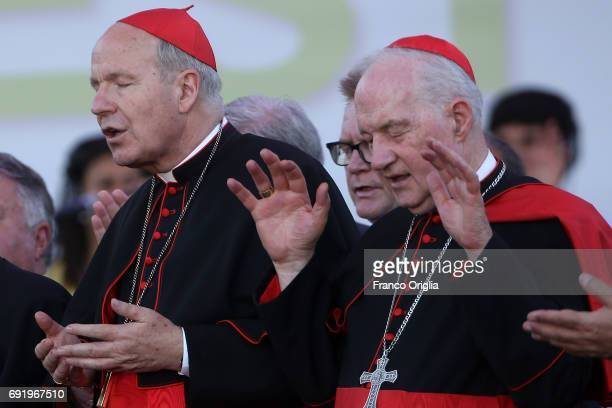 Archbishop of Wien cardinal Christoph Schonborn , and Canadian cardinal Marc Ouellet attend The Golden Jubilee of the Catholic Charismatic Reneval at...
