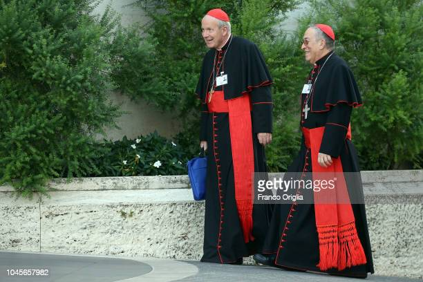 Archbishop of Wien cardinal Christoph Schonborn , and cardinal Oscar Rodrigo Maradiaga arrive at the Synod Hall for a session of the Synod of Bishops...