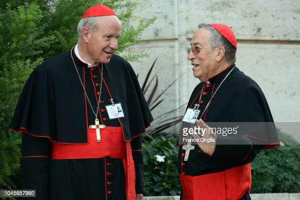 Archbishop of Wien cardinal Christoph Schonborn , chats with cardinal Oscar Rodrigo Maradiaga as they arrive at the Synod Hall for a session of the...