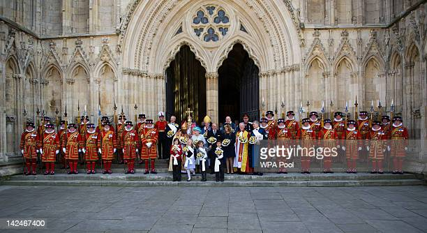 Archbishop of York John Sentamu Queen Elizabeth II Prince Philip Duke of Edinburgh and Princess Beatrice attends a Maundy Thursday Service at York...