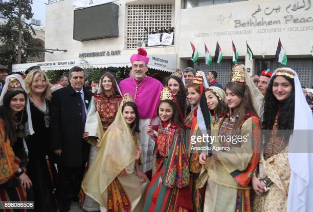 Archbishop Pierbattista Pizzaballa Administrator of the Latin Patriarchate poses for a photo during the 'Jerusalem is Capital of Palestine' themed...