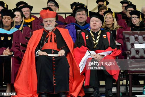 Archbishop Sean Cardinal O'Malley and Boston College Presiden William Leahy at the Boston College 2017 141st Commencement Exercises at Boston College...
