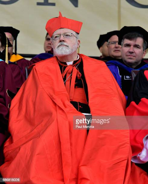 Archbishop Sean Cardinal O'Malley at the Boston College 2017 141st Commencement Exercises at Boston College Alumni Stadium on May 22 2017 in Boston...