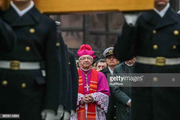 Archbishop Slawoj Leszek Glodz attending the Way of the Cross procession are seen on 7 April 2017 in Gdynia Poland Way of the Cross also known as Way...