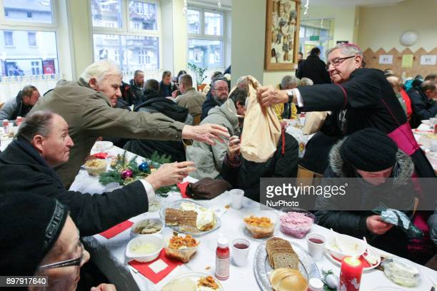 Archbishop Slawoj Leszek Glodz is seen Over 300 people took part in the Christmas Eve meal in Gdansk Poland on 24 December 2017 Traditional Polish...
