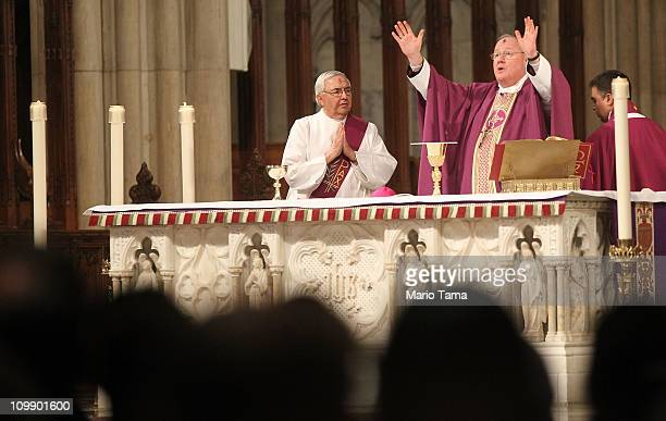 Archbishop Timothy M. Dolan leads Ash Wednesday mass at Saint Patrick's Cathedral on March 9, 2011 in New York City. Ash Wednesday marks the...