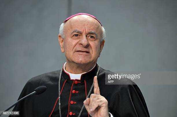 Archbishop Vincenzo Paglia president of the Holy See's Pontifical Council for the Family arrives to give a press conference on February 4 2015 at the...