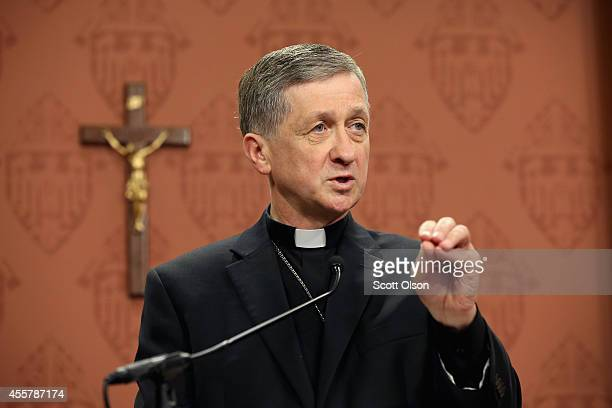 ArchbishopElect Blase Cupich speaks to the press on September 20 2014 in Chicago Illinois Cupich who served as bishop in Spokane Washington will...