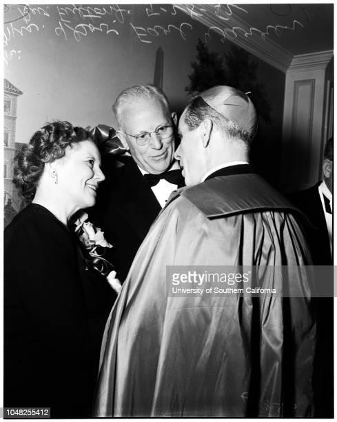 Archbishops dinner 28 May 1952 Reverend Joseph T McGuckenReverend Fulton J SheenArchbishop J Francis A McIntyreLouella ParsonsIrene DunneLouis B...