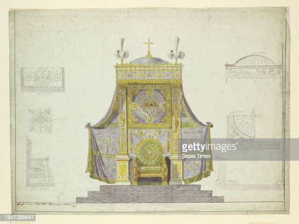 Archbishop's Throne and Canopy; Six Separate Studies for a Throne, Prie-Dieu, and Canopy, Hippolyte-François Joseph Equennez, 1772 – 1854, Pen and...