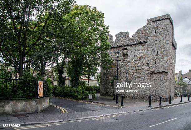 archbold castle in dalkey from castle street during day of autumn - dalkey stock pictures, royalty-free photos & images