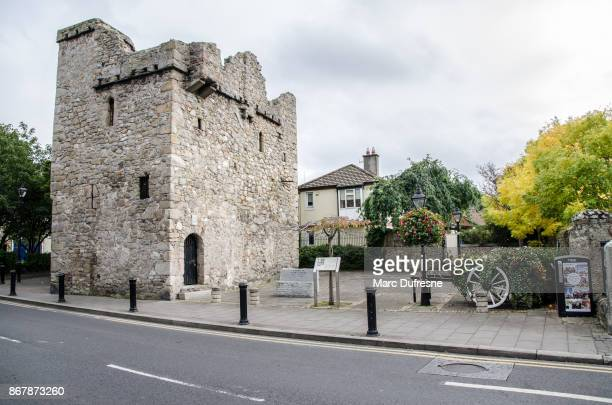 archbold's castle from the street during day of autumn - dalkey stock pictures, royalty-free photos & images