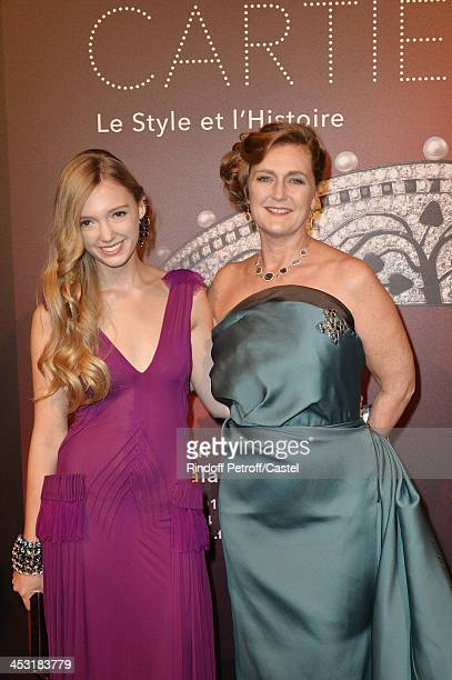 Archduchess Eleonore Von Habsburg and her daughter Princess Francesca Von Habsburg attend the 'Cartier Le Style et L'Histoire' Exhibition Private...