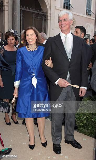 Archduchess Maria Constanza of Austria and Franz Josef von Auersperg attend the wedding of Prince Amedeo Of Belgium and Elisabetta Maria Rosboch Von...
