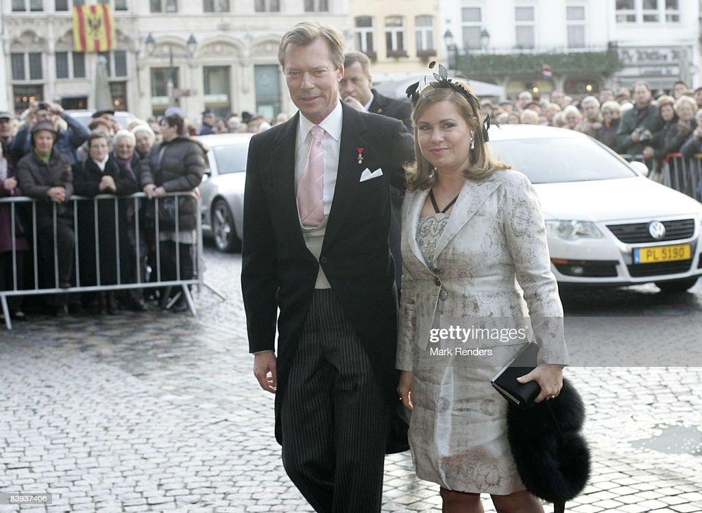 Archduchess Maria-Teresa and Archduke Henri of Luxembourg arrive at Saint Rombouts Cathedral to attend the wedding of Archduchess Marie-Christine of Austria and Count Rodolphe of Limburg-Stirum on December 06 2008 in Mechelen, Belgium.
