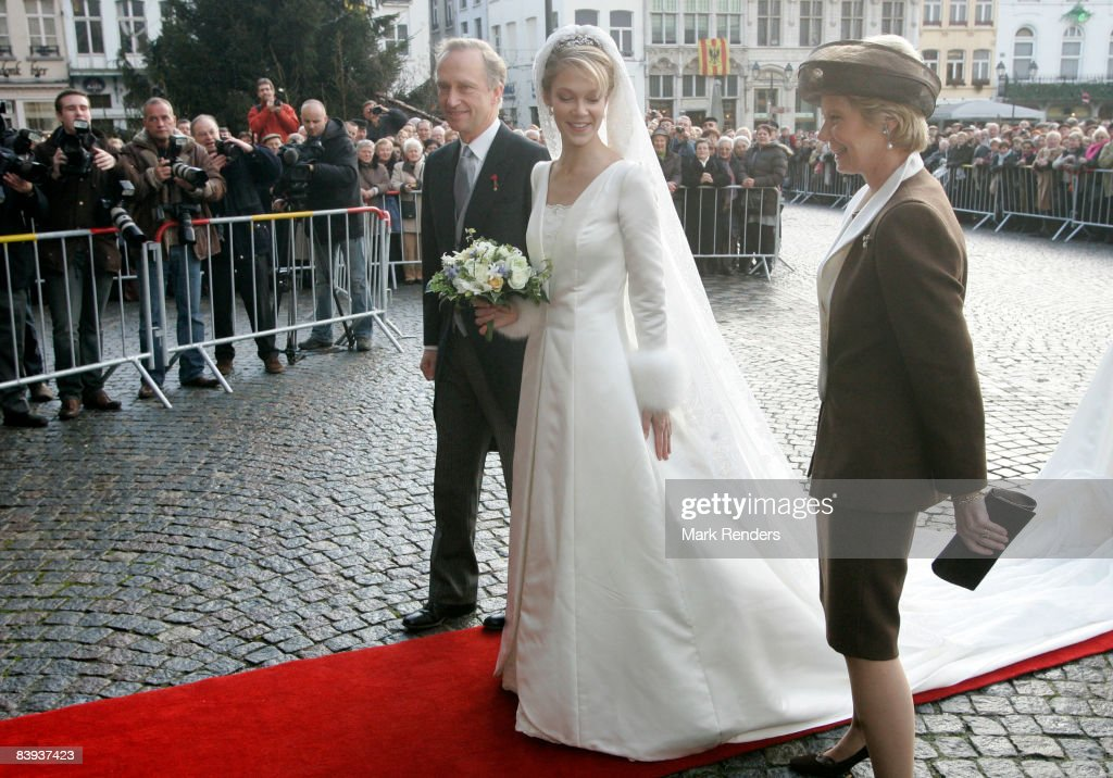 Archduchess Marie-Christine, Archduke Carl-Christian, Archduchess Gabriella and Archduchess Marie-Astrid of Austria arrive at the townhall to attend the wedding of Archduchess Marie-Christine of Austria and Count Rodolphe of Limburg-Stirum on December 06 2008 in Mechelen, Belgium.