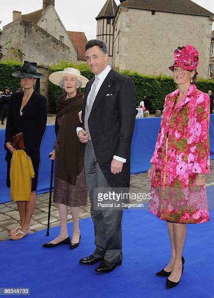Archduchess of Austria Este son Archduke Martin of Austria and Countess Riprand Arco Zinneberg arrive at the Senlis Cathedral to attend the wedding...