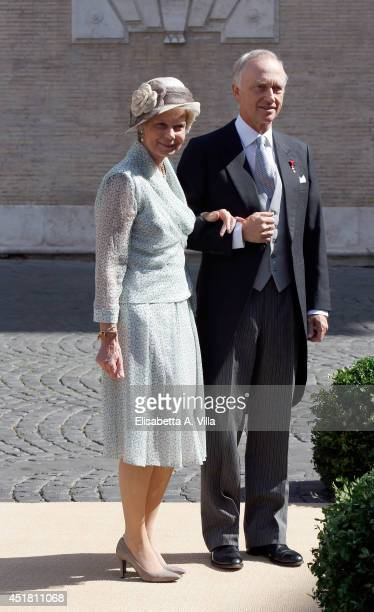 Archduke Carl Christian and Archduchess Marie Astrid of Austria attend the wedding of Prince Amedeo of Belgium and Elisabetta Maria Rosboch Von...
