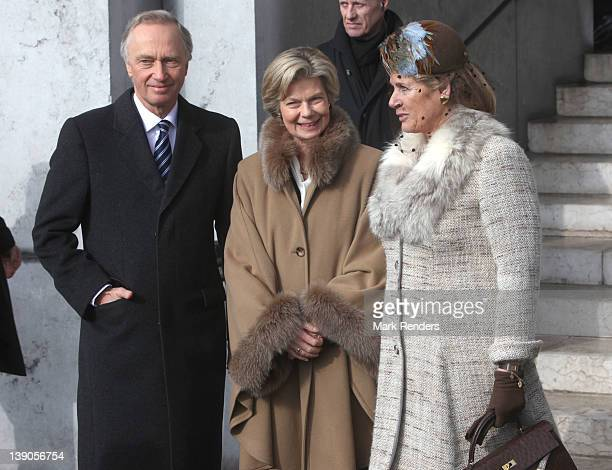 LAEKEN BELGIUM FEBRUARY 16 Archduke Carl Christian of Austria Princess Marie Astrid of Luxembourg and Princess Esmeralda of Belgium attend a Memorial...