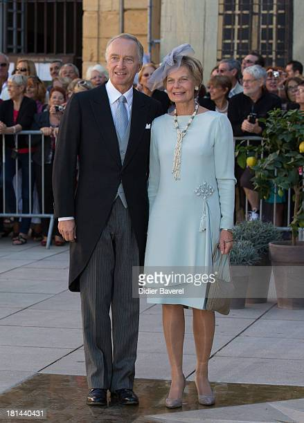 Archduke CarlChristian of Austria and Archduchess Marie Astrid of Austria leave the religious wedding of Prince Felix of Luxembourg and Claire...