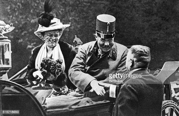 Archduke Ferdinand and his wife Sophie one hour before they would be shot a killed by Serb nationalist Gavrilo Princip as they drove through the...
