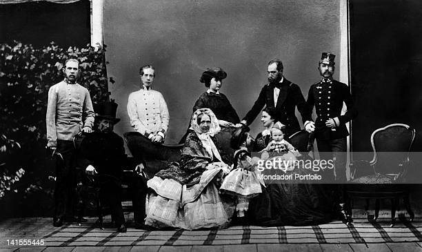 Archduke Francis Charles of HabsburgLorraine and his wife Sophie of Wittelsbach posing with their sons Francis Joseph Louis Victor Ferdinand...