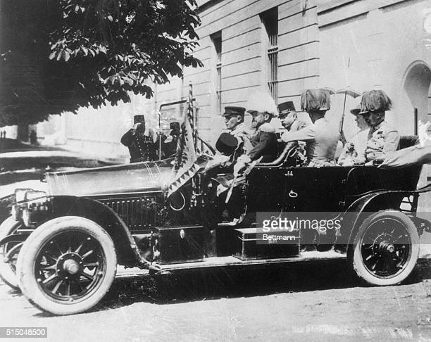 Archduke Francis Ferdinand heir to Austria's throne and his wife Duchess Sophie leave in an open car after visiting the Sarajevo Senate House Minutes...