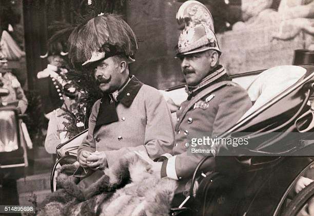 Archduke Franz Ferdinand heir to the Austrian throne riding in a carriage in Leipzig Germany