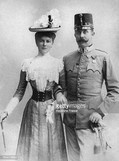 Archduke FRANZ FERDINAND of HABSBURG heir to the AustroHungarian Empire and his morganatic wife of Czech origin Duchess SOPHIE VONHOHENBERG between...