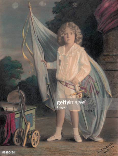Archduke Franz Joseph Otto, Emperor Karl I.?s and Zita?s son, in white blouse and short trousers, with sword, Austrian-Hungarian banner and military...
