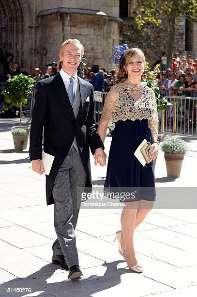 Archduke Imre and Archduchess Kathleen attend the Religious Wedding Of Prince Felix Of Luxembourg Claire Lademacher at Basilique Sainte...