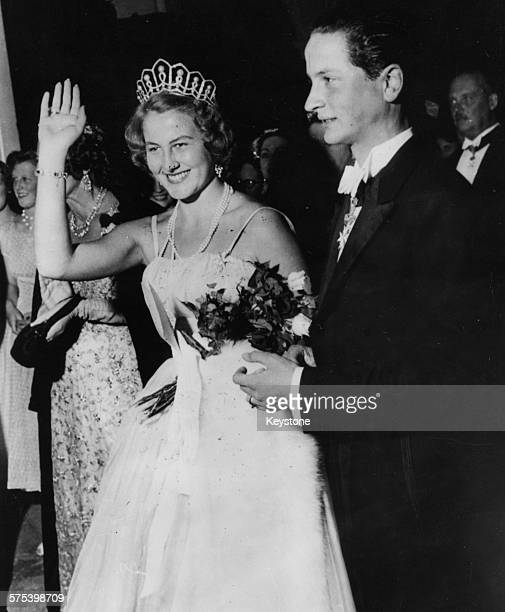 Archduke Josef Arpad of Habsburg and Princess Maria of Lowenstein pictured on their wedding day at Bronnbach September 12th 1956
