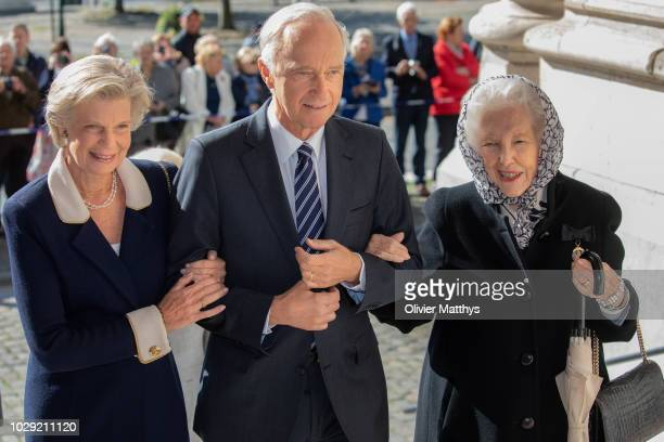 Archduke Karl Christian of Austria and Marie Astrid of Luxembourg arrive prior to attend a mass to remember the 25th anniversary of the death of King...