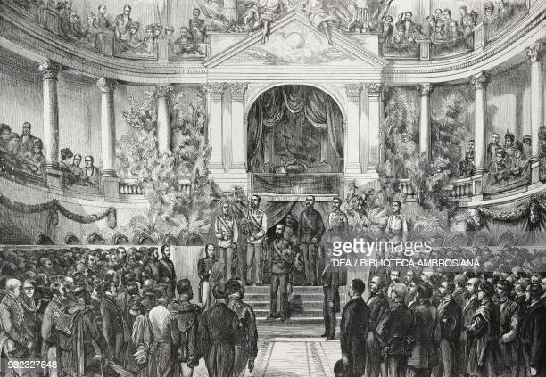 Archduke Karl Ludwig Joseph Maria of Austria presenting awards in the imperial riding school Vienna Universal Exhibition Austria illustration from...