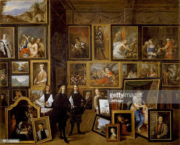 Archduke Leopold Wilhelm in his Picture Gallery, with the artist and other figures by David the Younger Teniers - Oil on canvas, 70 x 86 cm Private...
