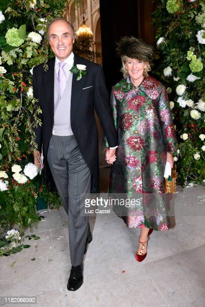 Archduke Lorenz d'Autriche-Este and his wife Princesse Astrid de Belgique attend the Wedding of Prince Jean-Christophe Napoleon and Olympia Von...