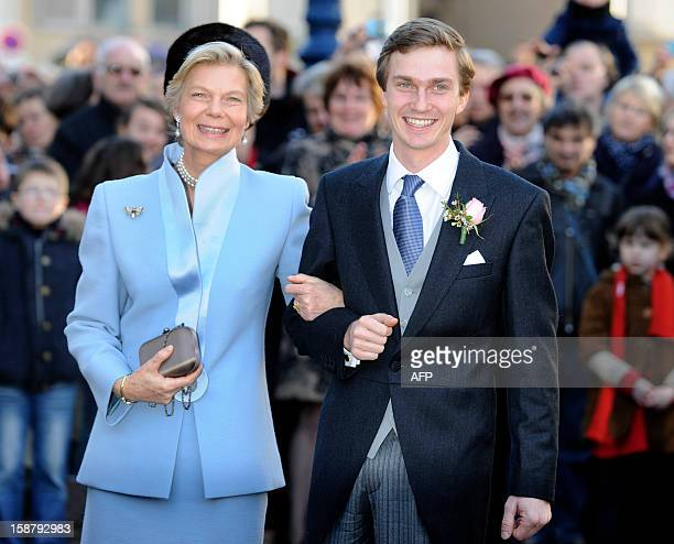 Archduke of Austria Christoph of Habsbourg poses with his mother Archduchess MarieAstrid of Austria in front of the Saint Epvre Basilica before his...