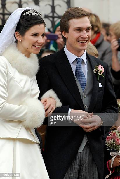 Archduke of Austria Christoph of HabsbourgLorraine and Archduchess Adelaide DrapeFrisch leave the SaintEpvre Cathedral after being married on...