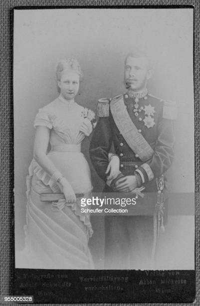 Archduke rudolf of austria-hungary and wife, stephanie, Portrait of Archduke Rudolph, Crown Prince of Austria, and his wife, Stephanie, Archduchess...