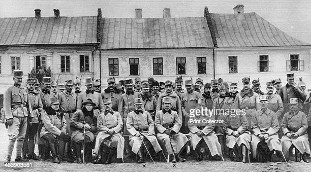 Archdukes Friedrich and Karl of Austria with their officers, World War I, 1915. Friedrich was appointed Supreme Commander of the Austro-Hungarian...