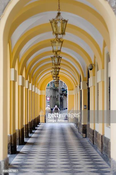Arched colonnade in Cadiz, Spain