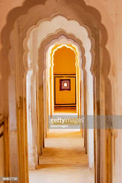 Arched corridor in a palace, City Palace Complex, City Palace, Jaipur, Rajasthan, India
