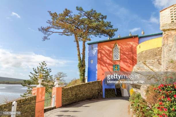 Arched gate leading to Portmeirion, Porthmadog, Snowdonia, North Wales, United Kingdom.