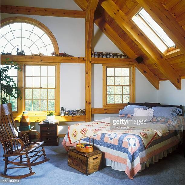 Arched window and skylight in bedroom