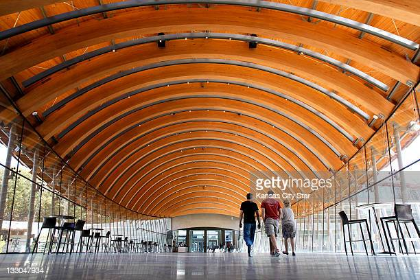 Arched wood beams form the ceiling of the cafe at the Crystal Bridges Museum of American Art in Bentonville Arkansas